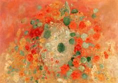 This painting from 1905 by Odilon Redon has incredible significance to me: first, I grew up on a part of the California coast where nasturtiums embroider the craggy headlands and line the little creeks. Nothing reminds me more of my true home than this ec Free Illustrations, Illustration Art, Flower Illustrations, Vase Vert, Odilon Redon, National Gallery Of Art, Art Gallery, Finger Painting, Art Institute Of Chicago
