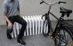bike racks the serve as benchs