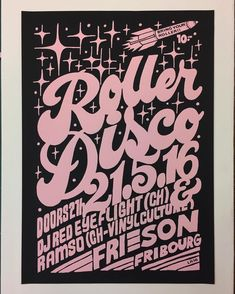 roller disco poster No 28 #givemoreink #screenprinteverydammday #printmaking…