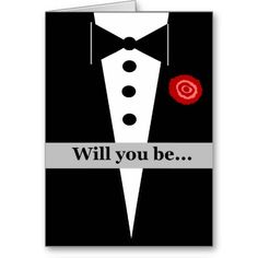 Be My Bridesman Card with Tux and Rose