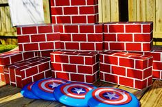 They built a wall and either busted through the wall with their super strength, or knocked it down with their Captain America shields (frisbees). Avengers Birthday, Superhero Birthday Party, 6th Birthday Parties, 4th Birthday, Birthday Ideas, Captain America Party, Captain America Birthday, Batman Party, Partys