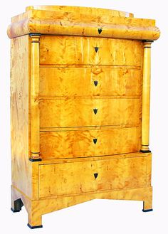 BIEDERMEIER TALLBOY WITH A SECRETAIRE DRAWER GERMAN C. 1820 BIRCHWOOD