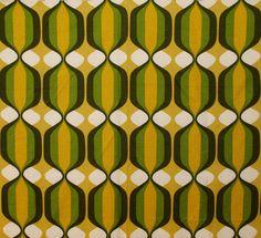 Vintage RETRO Mod OP ART Swirl GEOMETRIC fabric green gold black
