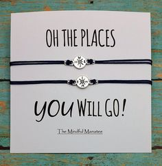 Compass Bracelets Compass Charm Bracelets by TheMindfulManatee Graduation Gifts For Best Friend, Graduation Presents, Bff Gifts, Grad Gifts, Best Friend Gifts, Friendship Gifts, Friendship Bracelets, Charm Bracelets, Best Friend Bracelets