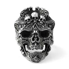 Crimson Ghost Skull Ring for Men Sterling Silver Skull Rings Punk Rock Skeleton Jewelry