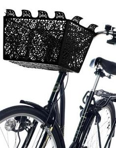 Goth style bicycle basket..