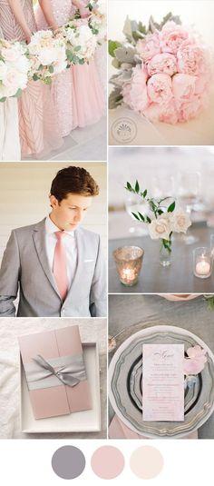 elegant pink and grey spring wedding color ideas