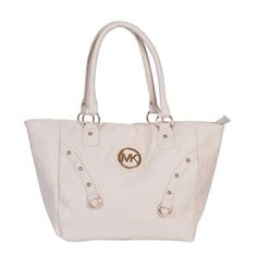 Michael Kors Logo Studded Medium White Totes Outlet