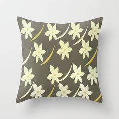 Golden Flower Abstract Pillows by Judy Palkimas