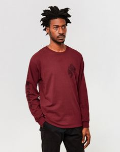 The Idle Man Notoriety Long Sleeve T-Shirt Burgundy ON SALE NOW | Shop all sale at The Idle Man | #StyleMadeEasy