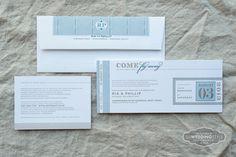 Spark Letterpress Wedding Invitation: Tessa Suite  Destination Wedding invitation Passport / Boarding Pass Invitation  www.letterpresslove.com