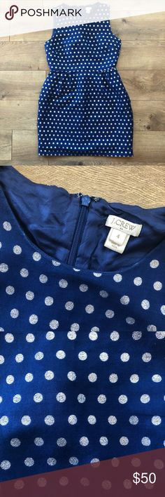 Jcrew silver polka dot dress! Comes with pockets! Zips in the back! See photos for fabric details and length of the whole dress! J. Crew Dresses Wedding