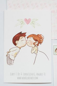 Cute cartoon by Elbert Or - wedding invite cover