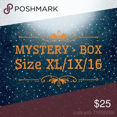 Mystery Bundle 📦 Box ✨Sizes XL/1X/16 Mystery Boxes contain AT LEAST 5🖐🏼items - I have sweaters, scarves, hats, belts, tees, tanks, button-down shirts, dresses & pants. I will make a fun assortment of items just for you! 🛍 All items sized XL, 1X, 16. Everything will be in very good to NWT condition. Let me know your item and color preferences in comments and i'll style a bundle just for you! 🎀 How fun is that?! Tops