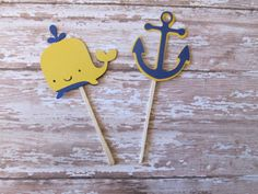 Navy and Yellow Anchor and Whale Cupcake by MoosesCreations
