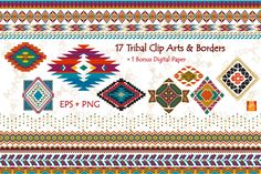Tribal Clip Art & Border- EPS + PNG by JSquarePresents on @creativemarket