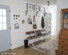 DIY Mudroom remodel with ship lap, DIY upholstered bench & Antique Barn Door