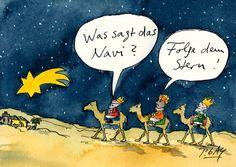 "Peter Gaymann Postkarte ""Was sagt das Navi?"""