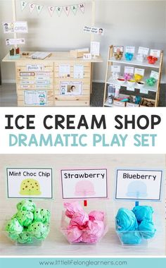 Do your little learners love to engage in imaginative play? They will love this Ice Cream Shop Dramatic Play center! It includes everything you need to set up an engaging space in your dramatic play corner! Dramatic Play Themes, Dramatic Play Area, Dramatic Play Centers, Preschool Dramatic Play, Camping Dramatic Play, Preschool Classroom Setup, Preschool Sign In Ideas, Kindergarten Themes, Preschool Centers