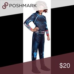 """Avengers Black Widow girls costume - small The wig is NOT included. 100% Polyester. Avengers 2 Age of Ultron Child's Black Widow Costume Jumpsuit with attached shoe covers Hi-def sublimated printing Small: Chest: 20""""-25""""; Torso: 19""""; Length: 37"""" Costumes Halloween"""