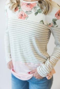 Women's Clothing, Tops & Tees, Knits & Tees, Women's Color Block Striped Long Sleeve Casual Loose Blouse Tops T-Shirt - Multicolor - & Tees Pretty Outfits, Winter Outfits, Cute Outfits, Pretty Clothes, Modest Fashion, Fashion Outfits, Floral Fashion, Women's Fashion, Stripped Shirt