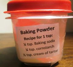 DIY BAKING POWDER ~ One part Baking Soda; one part arrowroot or tapioca starch; two parts Cream of Tartar --Store in airtight container & Label. Cream Of Tartar Ingredients, Baking Ingredients, Baking Powder Recipe, Make Baking Powder, Baking Soda Substitute, Make Your Own, Make It Yourself, How To Make, Hacks Cocina