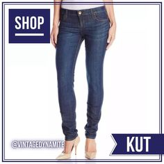 BNWOT KUT Diana Skinny Committed Dark Wash Jeans Staple skinny jeans with clean-pocket styling and a signature triple-belt-loop in back feature a cool blue wash aged with perfectly placed whiskering. Zip fly with button closure. Five-pocket style. 91% cotton, 7% polyester, 2% spandex. More info coming soon! Please feel free to ask me any questions and/or submit your best offer!  KUT from the Cloth Jeans Skinny