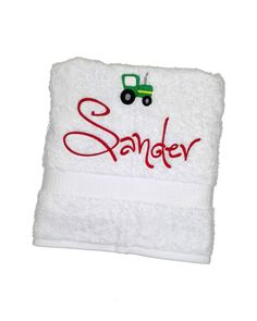 embroidered towel tractor