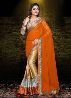 Dazzling Gold N Orange Half N Half #Saree