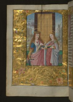 Aussem Hours, SS. Catherine and Barbara, with gold and floral marginal decoration, Walters Manuscript W.437, fol. 108v  This early sixteenth-century book of hours was made for the Aussem family in Cologne, Germany