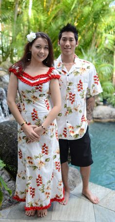 Maui Wailea Heliconia Flower Hawaiian Dress Hawaiian Party Outfit, Hawaiian Dresses, Hawaiian Clothes, New Dress Pattern, Dress Patterns, Samoan Women, Samoan Dress, Island Style Clothing, Hawaiian Fashion