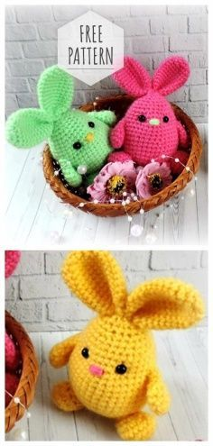 Easter Bunnies Free Pattern and Video Tutorial - Amigurumi free pattern - Crochet Crochet Diy, Crochet Easter, Easter Crochet Patterns, Crochet Crafts, Crochet Projects, Tutorial Crochet, Crochet Pillow, Crochet Ideas, Diy Crafts