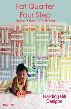 Fat Quarter Four Step Quilt Pattern - Multiple Sizes - PDF Version