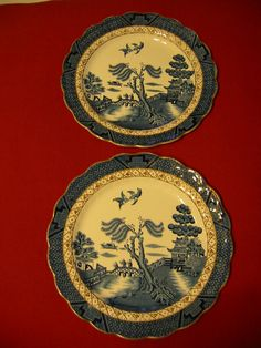 Booths England Plates Blue White Pair Real Old Willow Antique Wall Arts