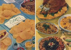 https://flic.kr/p/9etZwV | Recipes That Pep-Up Meals (2), 1957 | A couple of pages from inside the booklet.  I think I recognize the patterned blue glass surface on the left from the climactic scene of a Japanese gangster flick that I once saw.    Anyway, you get such culinary marvels as potato chip stuffing, corn & mushrooms with potato chip topping, and sweet 'n sour spinach with potato chip topping.  Yeah... I don't know why this trend never caught on, either.