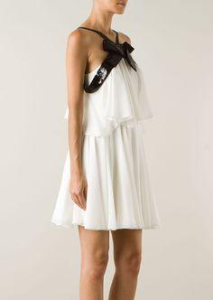 Saint Laurent Dresses :: Saint Laurent white silk dress with black sequins   Montaigne Market
