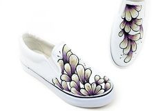 Colors of Ink Themed Hand Painted Slip-on Canvas Sneakers, Hand Painted Slippers, Cosplay Hand Drawing Shoes