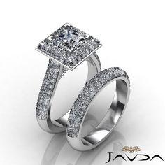 Flashy Bridal Set Princess Diamond Pave Engagement Ring GIA G SI1 Platinum 3 9ct | eBay