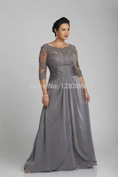 Cheap mothers dresses for weddings, Buy Quality mother dress directly from China mother of bride Suppliers: O-Neck V back Fashion Grey Mother of the Bride Floor length half sleeve Applique Chiffon sheet mother dress for wedding party Plus Size Gowns Formal, Evening Dresses Plus Size, Chiffon Evening Dresses, Wedding Dresses Plus Size, Modest Wedding Dresses, Formal Gowns, Bridal Dresses, Formal Dress, Lace Chiffon