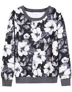 Grey Long Sleeve White Floral Loose Sweatshirt 12.67