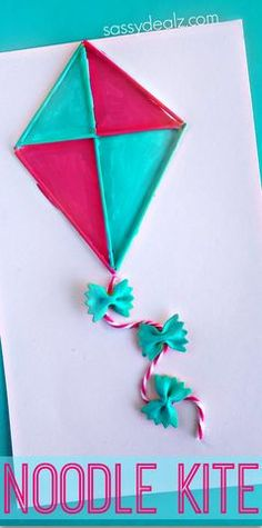 Pasta Noodle Kite Craft for Kids  (Use spaghetti and bowtie noodles!) #Spring or Summer art project