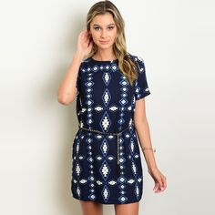 Shop The Trends Women's Short Sleeve Shift Dress With Allover Tribal Print And A Skinny Chain Belt