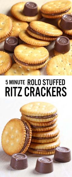 Rolo stuffed Ritz crackers - an awesomely easy-to-make salty-sweet, caramel-chocolate combo. Trust me. A match made in Heaven. Rolo stuffed Ritz crackers - an awesomely easy-to-make salty-sweet, caramel-chocolate combo. Trust me. A match made in Heaven. Snacks Für Party, Easy Snacks, Yummy Snacks, Easy Desserts, Delicious Desserts, Finger Food Desserts, Easy Finger Food, 5 Minute Desserts, Easy Sweets