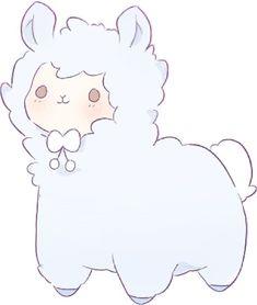 'Alpaca ' Sticker by sleepy-pastels Cute Kawaii Animals, Cute Animal Drawings Kawaii, Cute Little Drawings, Cute Cartoon Drawings, Kawaii Art, Cartoon Art, Alpaca Drawing, Dibujos Cute, Cute Art Styles