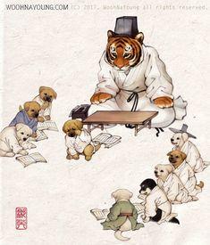 I tried to remake century painter Kim Hong-do's genre paintings <Seodang(Village School house)> with animals. The Tiger Hun-jang(Village scho. Korean Art, Asian Art, Korean Illustration, Korea Design, Manga Anime Girl, Chinese Painting, Aesthetic Anime, Illustrators, Fantasy Art