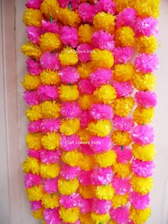 6 Artificial pink yellow marigold flower garland strand, wedding party backdrop, Indian wedding deco Best Picture For wedding parties style For Your Taste You are looking for something, and it is goin Flower Curtain, Flower Backdrop, Flower Garlands, Indian Wedding Photos, Marigold Flower, Wedding Rituals, Indian Wedding Decorations, Garland Wedding, Backdrops For Parties