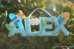 It would be perfect for Matthys! Felt Name Banner, Felt Letters, Name Banners, Felt Crafts, Fabric Crafts, Mobiles, Wreath Boxes, Toys For Boys, Boy Toys