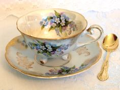 Antique Tea Cup and Saucer Set Tri 3 Footed Baby Blue & Gold Floral Lusterware Teacup w/ Forget Me Nots | Mid Century Japan | Cottage Decor by HouseofLucien on Etsy https://www.etsy.com/listing/247480217/antique-tea-cup-and-saucer-set-tri-3