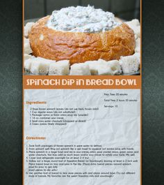 Spinach Dip in Bread Bowl yummy bread recipe dip recipes ingredients easy recipes appetizer appetizers easy recipe cheesy spinach bowl delicous