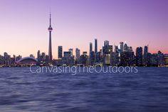 Toronto Skyline at Dusk Canvas Wall Art Lake Ontario CN Tower sunset twilight city lights Ontario Pink sky